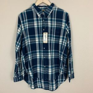 Wrangler Blue and White Flannel